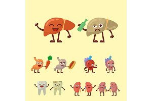 Human organs healthy and unhealthy anatomic funny cartoon character pairs vector.