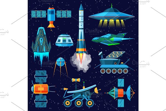 Rocket Vector Spaceship Or Spacecraft And Satellite Or Lunar-rover Illustration Set Of Spaced Ship In Universe Space Isolated On Background