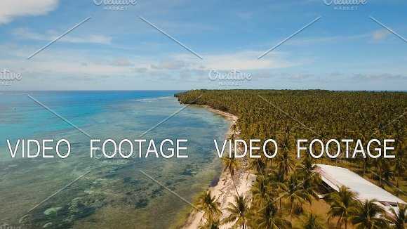 Aerial View Beautiful Beach On Tropical Island Daco Island Philippines Siargao