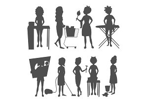 Housewifes homemaker woman silhouette cute cleaning cartoon girl housewifery female wife character vector illustration.