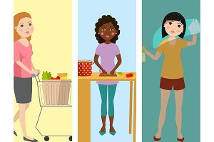 Housewifes homemaker woman banners cute cleaning cartoon girl housewifery female wife character vector illustration.