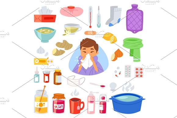Flu Vector Sick Character With Fever And Illness And Sneezing Nose Illustration Set Of Sickness And Medical Treatment Signs With Medicines Isolated On White Background