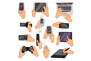 Hands with gadgets vector hand holding phone or camera illustration set of character working on digital devices laptop or tablet and playing in gamepad isolated on white