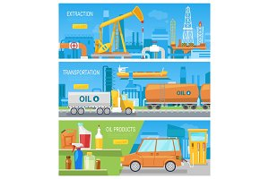 Oil industry vector oiled technology petroleum extraction and transportation illustration set of industrial equipment for producing oily fuel