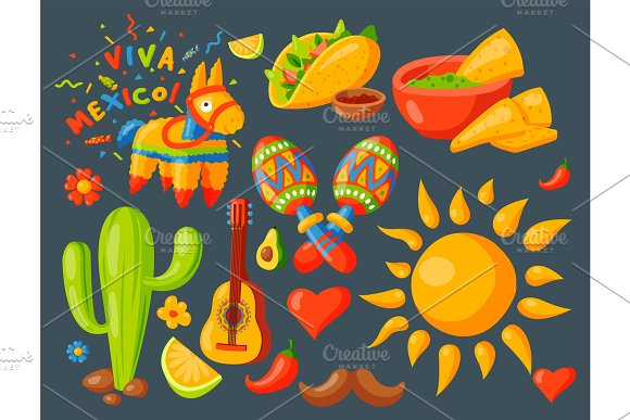 Mexico Icons Vector Illustration Traditional Graphic Travel Tequila Alcohol Fiesta Drink Ethnicity Aztec Maraca Sombrero