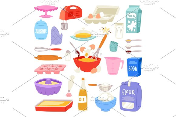 Bakery Ingredients Vector Food And Kitchenware For Baking Cake Set Of Eggs Flour And Milk For Dough Illustration Of Cooking Cupcake Or Pie With Cookware In Kitchen Isolated On White Background