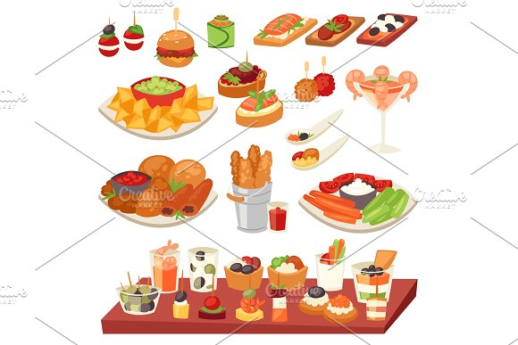 Appetizer Vector Appetizing Food And Snack Meal Or Starter And Canape Illustration Set Of Appetiser With Cheese And Bread For Lunch Isolated On White Background