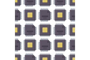 CPU microprocessors microchip vector illustration hardware seamless pattern background component equipment.