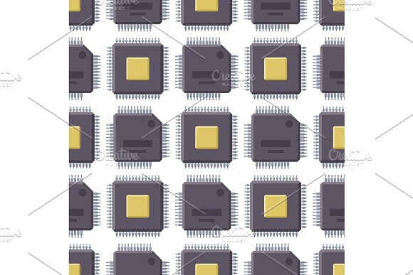 CPU Microprocessors Microchip Vector Illustration Hardware Seamless Pattern Background Component Equipment