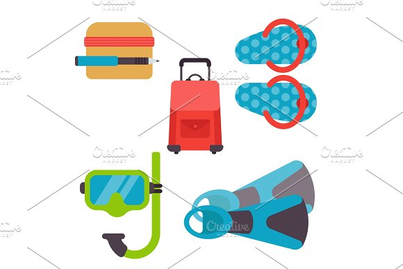 Airport Travel Icons Flat Tourism Suitcase Passport Luggage Plane Transportation Vector Illustration