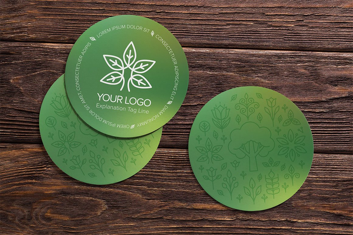 round business cards natural business card templates creative market - Round Business Cards