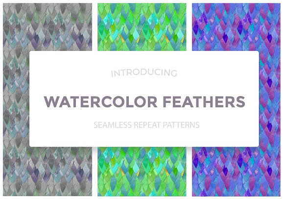 Watercolor Feathers Seamless Repeat