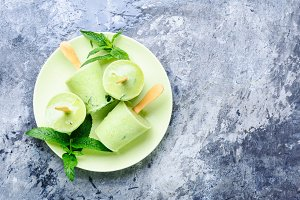 Ice cream with mint