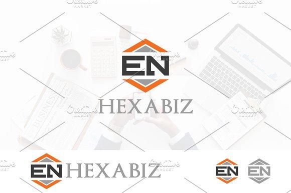 EN Logo Initial Letter Hexagon