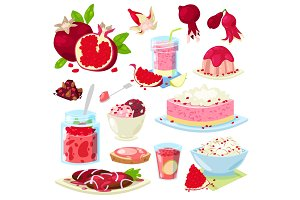 Pomegranate vector fresh fruity food dessert ice cream or cake with garnet and sweet fruit of pomegranate-tree illustration set of vegetarian nutrition diet isolated on white background