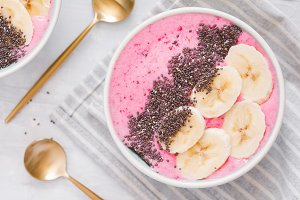 Top view of summer smoothie bowl