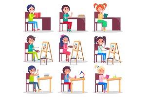 Children Do Homework Isolated Illustrations Set