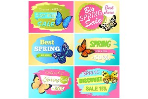 Best Choice Big Spring Sale Labels Set Butterflies