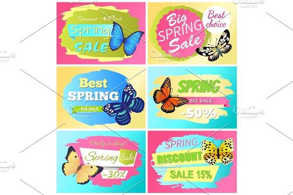 Best Choice Big Spring Sale Labels Set Butterflies
