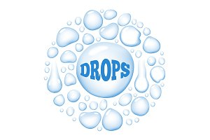 Round Wet Water Drops Vector Illustration