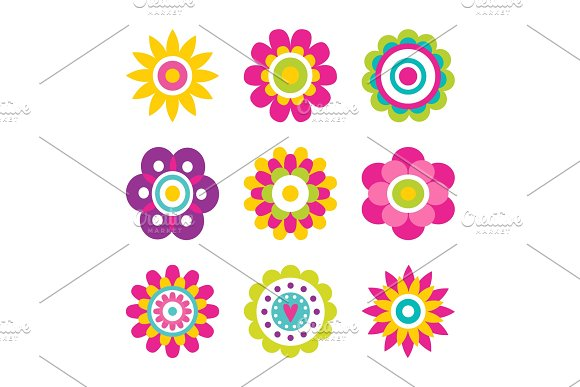Flowers Blooming Collection Vector Illustration