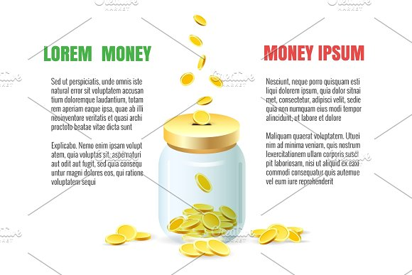 Save Dollar Coins In Jar Concept