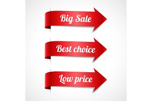 Sale red ribbon arrows with text