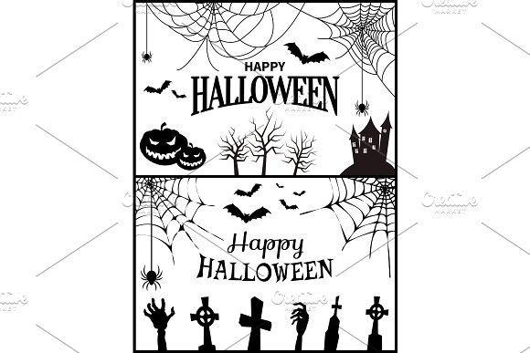 Happy Halloween Banner On Vector Illustration