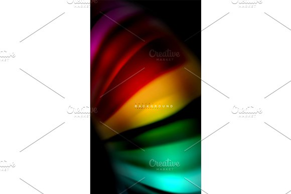 Abstract wave lines fluid rainbow style color stripes on black background in Textures