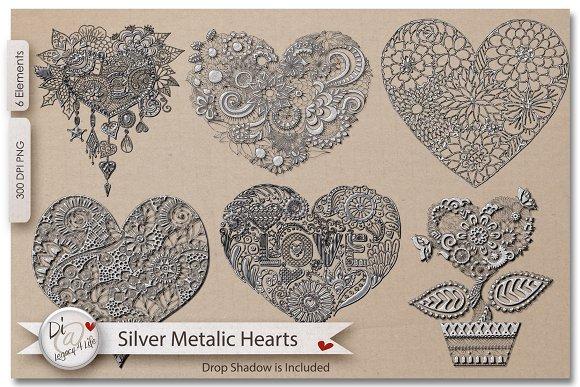 Silver Metalic Hearts