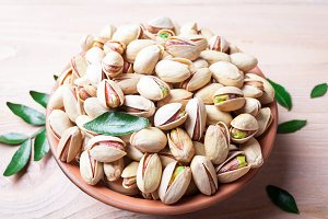 Pistachios nuts in bowl