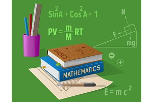 Physics & Mathematics Classes Cartoon Illustration