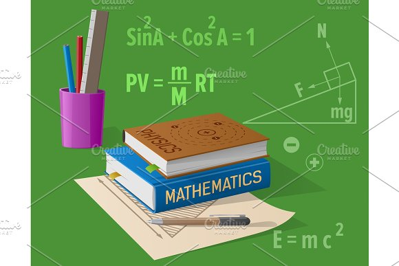 Physics Mathematics Classes Cartoon Illustration