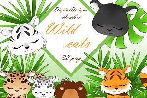 Wild cats clipart