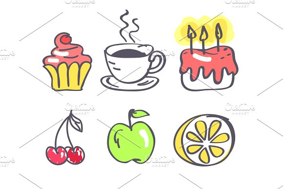 Coffee With Fruits And Sweets Vector Illustration
