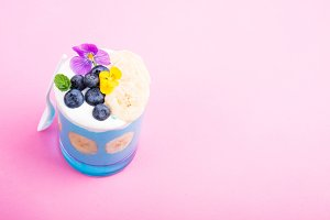 Smoothie dessert with fruits
