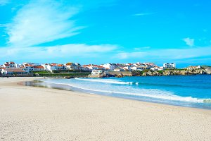 town  ocean shore. Baleal, Portugal