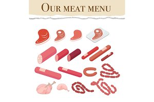 Our Meat Menu for Restaurant Vector Illustration