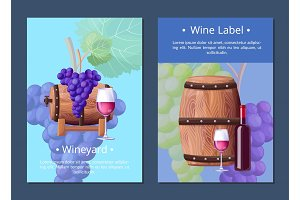 Vineyard and Wine Label on Vector Illustration
