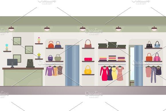 Women's Clothing Store Vector Illustration