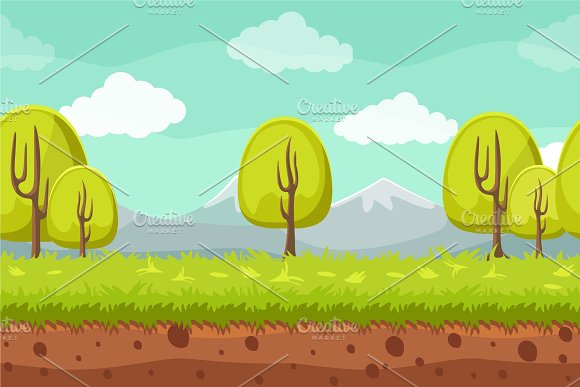 Seamless Landscape Background Cartoon Horizontal Background For Games