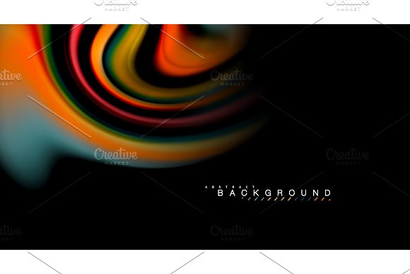 Fluid Rainbow Colors On Black Background Vector Wave Lines And Swirls