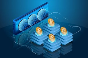 Cryptocurrency mining equipment or farm. Blockchain system and technology.