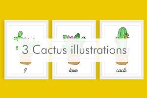 3 Cactus illustrations