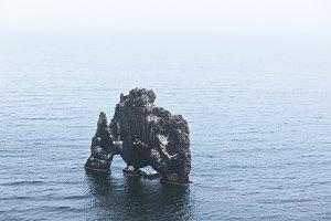 Hvitserkur rock in the sea near