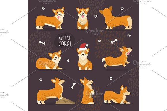 Adorable Welsh Corgi Dogs With Yellow Fur Set