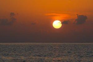 Beautiful tropical sunset ocean