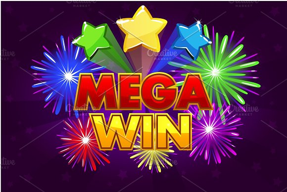 Vector Mega Big Win Banner For Lottery Or Casino Games