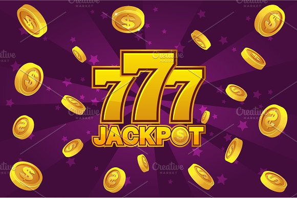 Logo JACKPOT And Golden 777 Icon Explosion Gold Coins On Violet Background Banner Casino Background