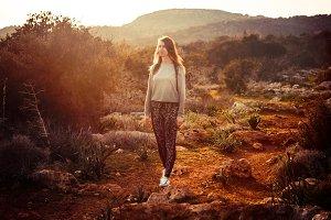 Walking in sunrise